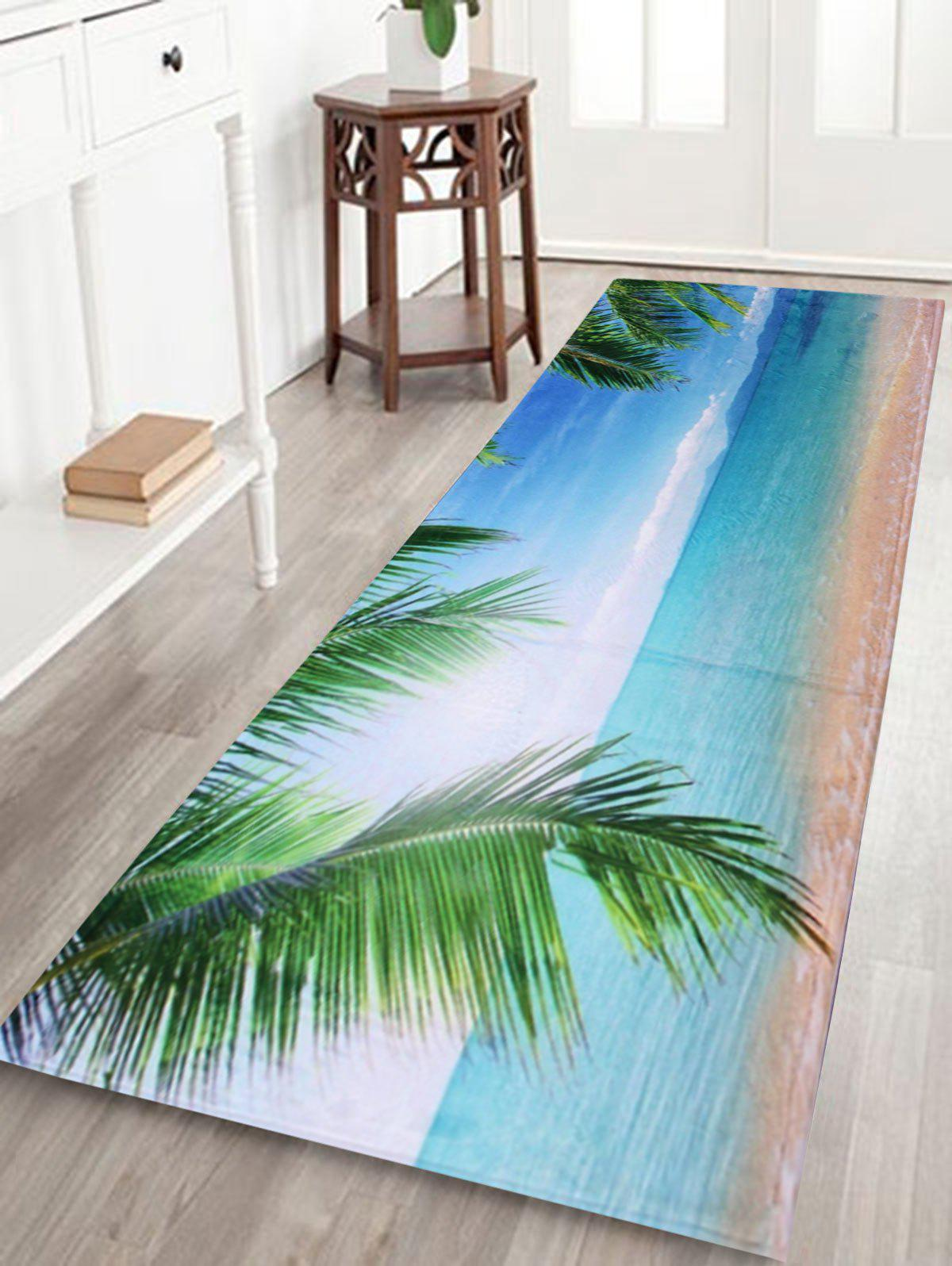 Beach Landscape Coral Velvet Long Bathroom RugHOME<br><br>Size: W24 INCH * L71 INCH; Color: AZURE; Products Type: Bath rugs; Materials: Coral FLeece; Pattern: Scenic; Style: Beach Style; Shape: Rectangle; Package Contents: 1 x Bath Rug;