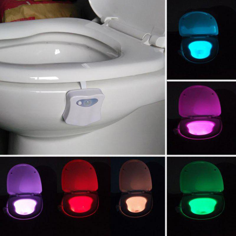 Automatic Motion Sensor Colorful LED Toilet LightHOME<br><br>Size: 9.5*7*5CM; Color: WHITE; Products Type: Novelty Lighting; Materials: ABS; Style: Contemporary; Occasion: Bathroom; Voltage(V): 5V; Power (W): 1W; Weight: 0.0700kg; Package Contents: 1 x Toilet Light?battery not include?;