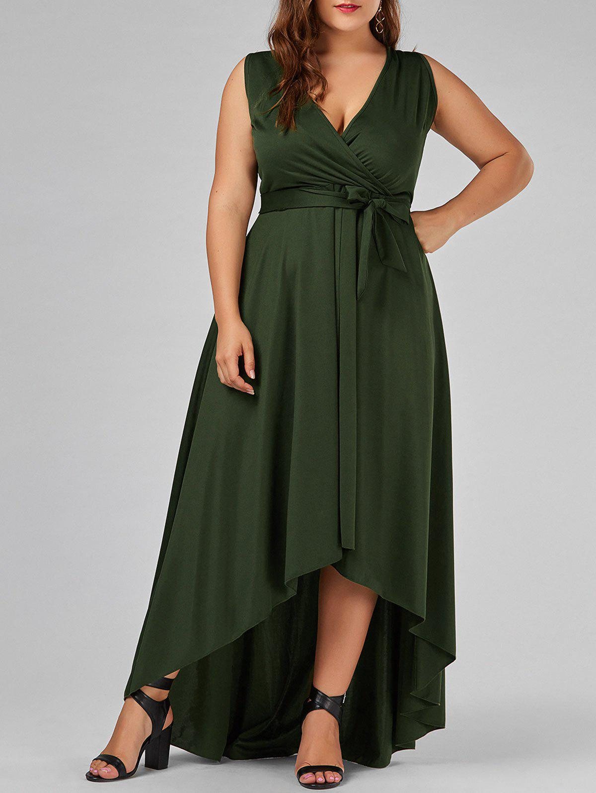 Plus Size Surplice Long High Low Formal DressWOMEN<br><br>Size: XL; Color: ARMY GREEN; Style: Brief; Material: Polyester; Silhouette: Asymmetrical; Dresses Length: Floor-Length; Neckline: V-Neck; Sleeve Length: Sleeveless; Pattern Type: Solid; With Belt: Yes; Season: Summer; Weight: 0.6200kg; Package Contents: 1 x Dress  1 x Belt;
