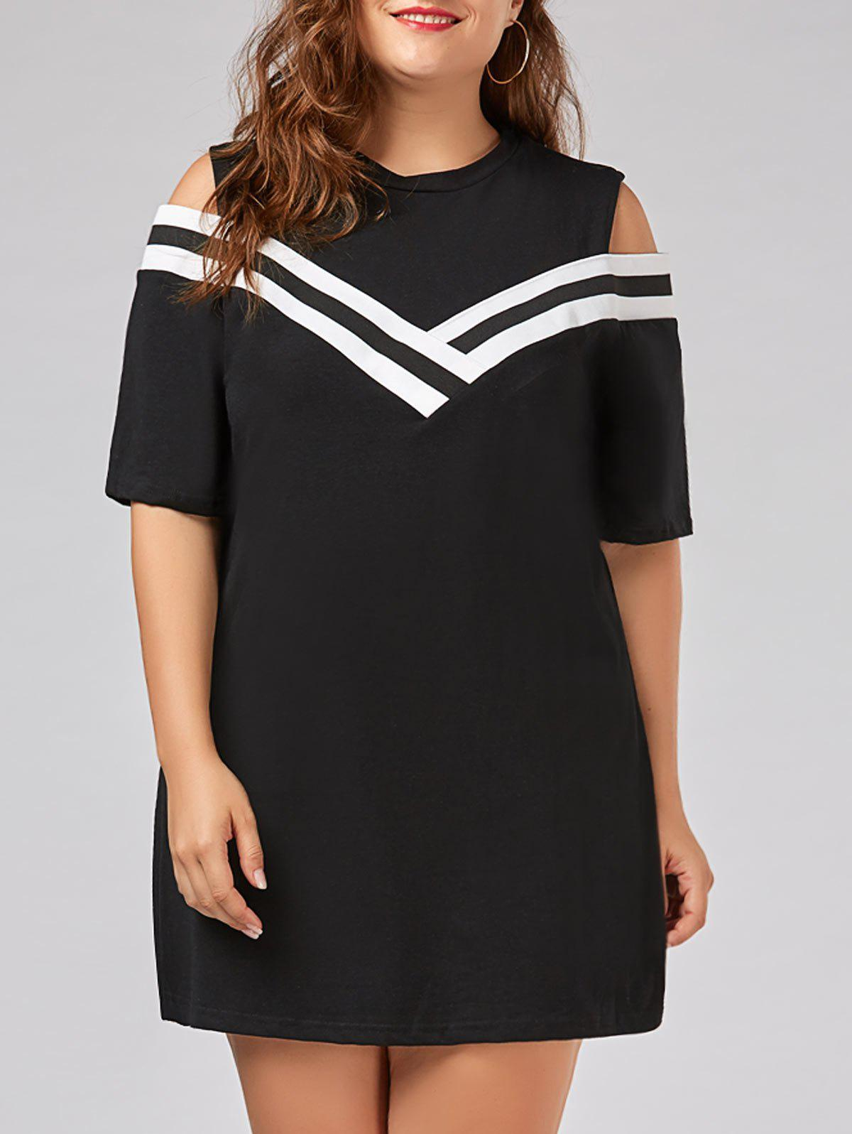 Stripe Panel Plus Size Cold Shoulder T-shirt DressWOMEN<br><br>Size: 5XL; Color: BLACK; Style: Casual; Material: Cotton,Cotton Blend,Polyester; Silhouette: Straight; Dresses Length: Knee-Length; Neckline: Round Collar; Sleeve Type: Cold Shoulder; Sleeve Length: Short Sleeves; Embellishment: Hollow Out; Pattern Type: Others,Striped; With Belt: No; Season: Spring,Summer; Weight: 0.3400kg; Package Contents: 1 x Dress;