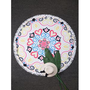 Hearts Print Round Fringed Beach Throw - Colormix - One Size