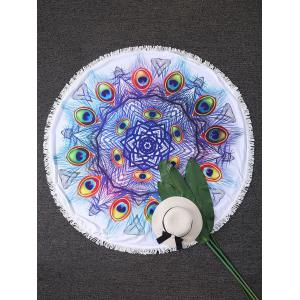 Round Peacock Feather Fringed Beach Throw