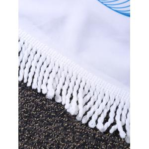 Round Peacock Feather Fringed Beach Throw -