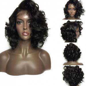 Free Part Short Shaggy Curly Lace Front Synthetic Wig - Black - 16inch