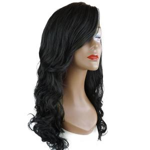 Deep Side Part Long Wavy Lace Front Synthetic Wig - Black - 12inch