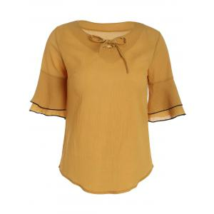 Bowknot Self Tie Flare Sleeve Blouse