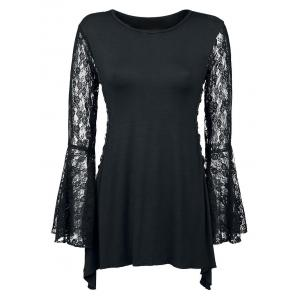 Lace Up Bell Sleeve Party Tunic Tee - Black - Xl