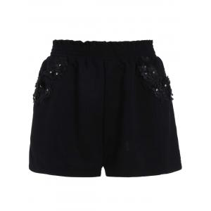 Stereo Floral Elastic Waist Mini Plus Size Shorts