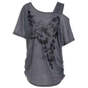 Plus Size Skew Collar Butterfly Print Tunic Top - Gray - 4xl
