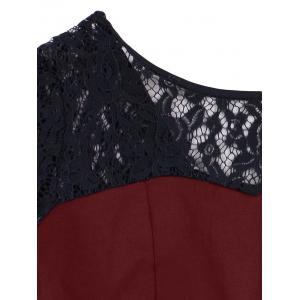 High Low Lace Insert Vintage Dress - WINE RED 2XL