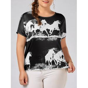 Plus Size High Low Horse Animal GraphicTop