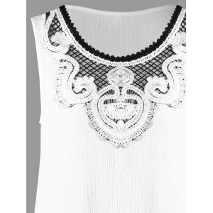 Crochet Appliqued Crinkle Tunic Top - WHITE XL