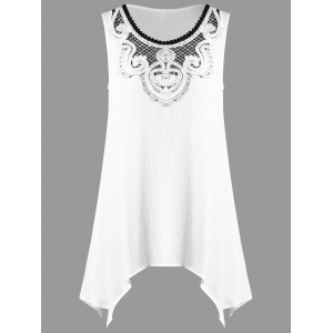 Crochet Appliqued Crinkle Tunic Top - White - 2xl