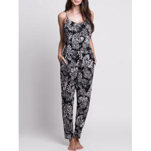 Leaf Print Lace-up Cami Jumpsuit - White And Black - Xl
