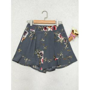 Floral Ruffle Trim High Waisted Shorts