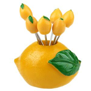 Cute Shape Plastic Lemon Stainless Steel Fruit Fork Set