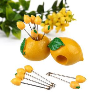 Ensemble de fourche à fruits en acier inoxydable citron en forme mignon - Jaune