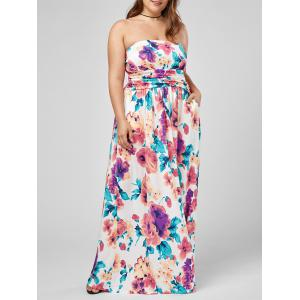 Plus Size Strapless Floral Maxi Formal Dress