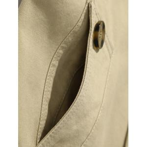 Button Up Notch Collar Slim Fit Jacket - EARTHY 5XL
