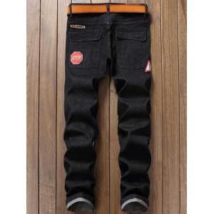 Straight Leg Graphic Print Color Block Applique Jeans - Noir 30