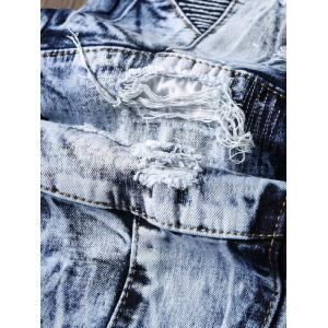 Narrow Feet Faded and Tie Dye Panel Ripped Jeans - BLUE 38