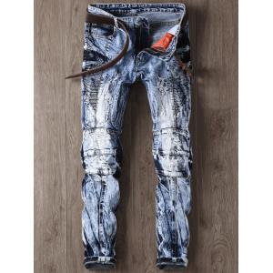 Narrow Feet Faded and Tie Dye Panel Ripped Jeans - Blue - 38