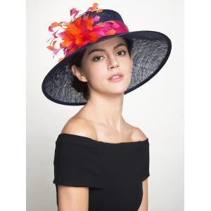 Muliticolor Feather Florwer Cambric Ribbon Hat