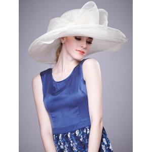Cambric Layer Wide Brim Bowknot Banquet Hat - White - One Size