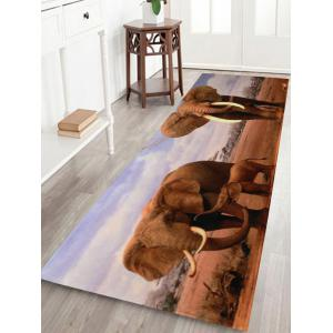 African Elephant Soft Coral Fleece Floor Area Rug - Colormix - W24 Inch * L71 Inch