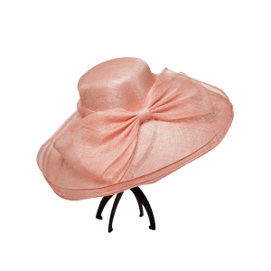 Cambric Layer Wide Brim Bowknot Banquet Hat - PAPAYA