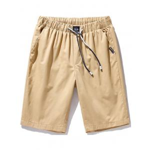 Pockets Drawstring Chino Shorts - Khaki - 2xl