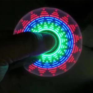 Electroplated Fidget Spinner with 18 Changing Patterns LED Light - Blue - 7.7*7.5*1.2cm
