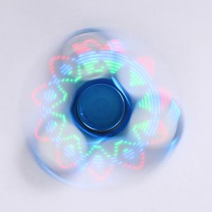 Electroplated Fidget Spinner with 18 Changing Patterns LED Light - BLUE
