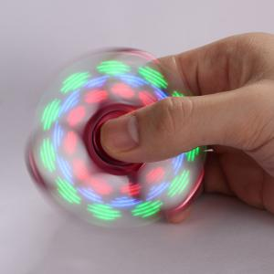 Electroplated Fidget Spinner with 18 Changing Patterns LED Light - RED