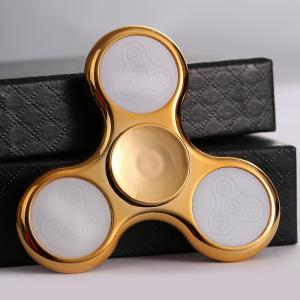 Electroplated Fidget Spinner with 18 Changing Patterns LED Light - GOLDEN