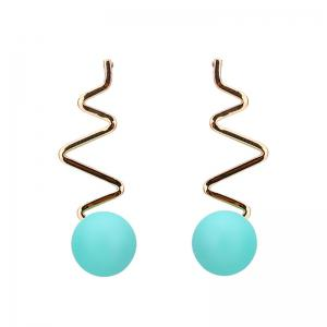 Zig Zag Resin Ball Drop Earrings