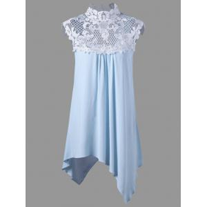 Plus Size Cutout Lace Panel Asymmetrical Top - Light Blue - 5xl