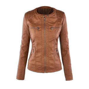 Detachable Hooded Faux Leather Jacket -