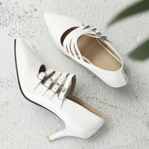 Buckle Straps Patent Leather Pumps - WHITE 40