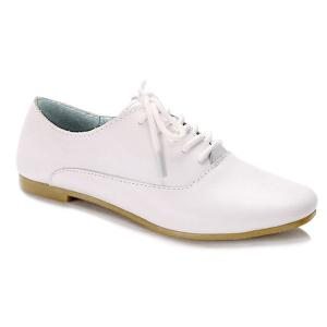 Tie Up Faux Leather Flat Shoes - White - 38