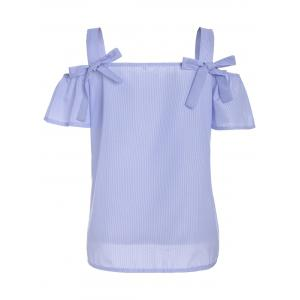 Bowknot Stripe Cold Shoulder Top - LIGHT BLUE M