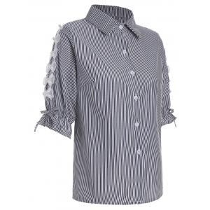 Pinstripe Button Up Beaded Shirt - Black - M