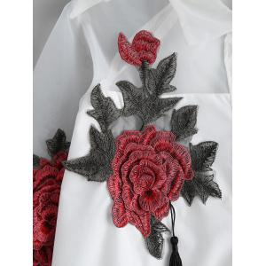 Floral Embroidered Button Up Tassel Shirt - WHITE XL