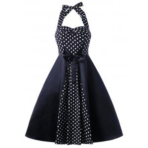 Vintage Halter Polka Dot Bowknot Flare Dress