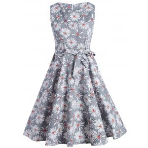 Vintage Sleeveless Floral Fit and Flare Dress - Light Grey - L