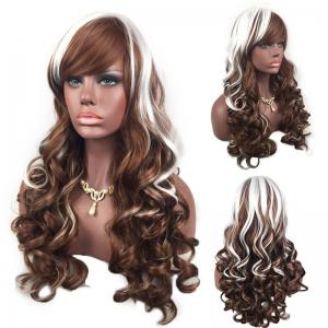 Adiors Inclined Bang Highlight Layered Shaggy Long Curly Synthetic Wig - White And Brown