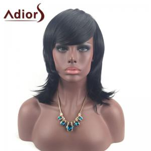 Adiors Medium Layered Tail Upwards Side Bang Glossy Straight Synthetic Wig