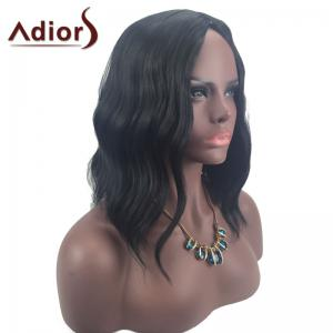 Adiors Middle Part Slightly Curled Medium Synthetic Wig - Black - 24inch