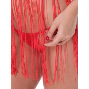 Sheer Fringed Cami Babydoll - RED S