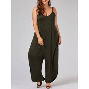 Plus Size Spaghetti Strap Baggy Jumpsuit - Army Green - 5xl